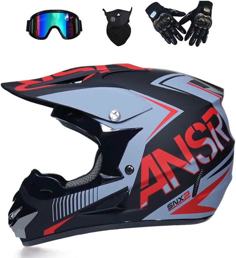 O S, M, L, XL T Certified Rockstar Multicolor avec Lunettes Masques Gants NOMEN Adulte Motocross Casque MX Moto Casque ATV Scooter ATV Casque D