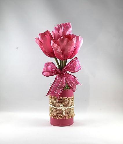 spring flower arrangement tulip arrangement burlap tulips floral arrangement gift for
