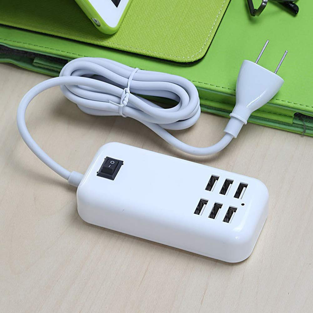 XuBa 4-Outlet/ 6-Outlet Power Travel Adapter Strip USB Wall Socket Cell Phone Desktop Charging Dock with Switch 6-Port US Plug