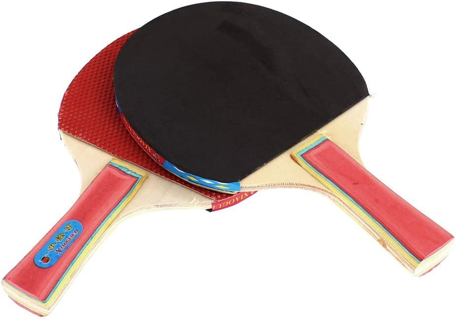 DealMux Recreativo del Ping-Pong Mesa de Ping Pong Raqueta del Par Rojo Gris