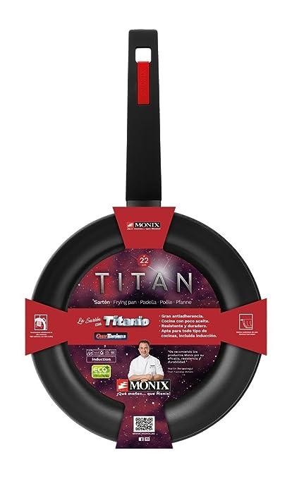 Monix Titan - Set de 3 sartenes, 18-22-26 cm, aluminio forjado con titanio y recubrimiento antiadherente y mango ergonómixo, negro