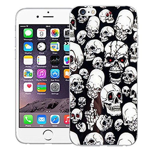 "Mobile Case Mate iPhone 6S 4.7"" Silicone Coque couverture case cover Pare-chocs + STYLET - Black Multi Skull pattern (SILICON)"