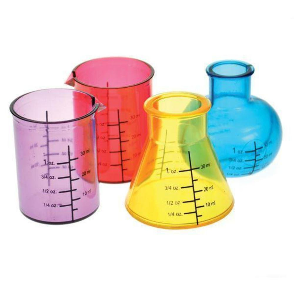 Bada Bing Set Of 4 Chemistry Science Lab Equipment Shaped Shot Glasses Drinking Glass Party Fun 73 Out Of The Blue