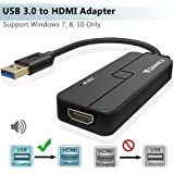 USB to HDMI Adapter, FOINNEX USB 3.0 to HDMI Video Converter with Audio 1080P HD for Windows 10/8.1/8/7 PC Laptop Surface to TV Monitor Projector (NOT Support XP/Mac OS/Vista),Male to Female
