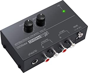 Neoteck Ultra-Compact PP500 Phono Preamplifier with Level and Volume Controls, RCA Input and Output, 1/4