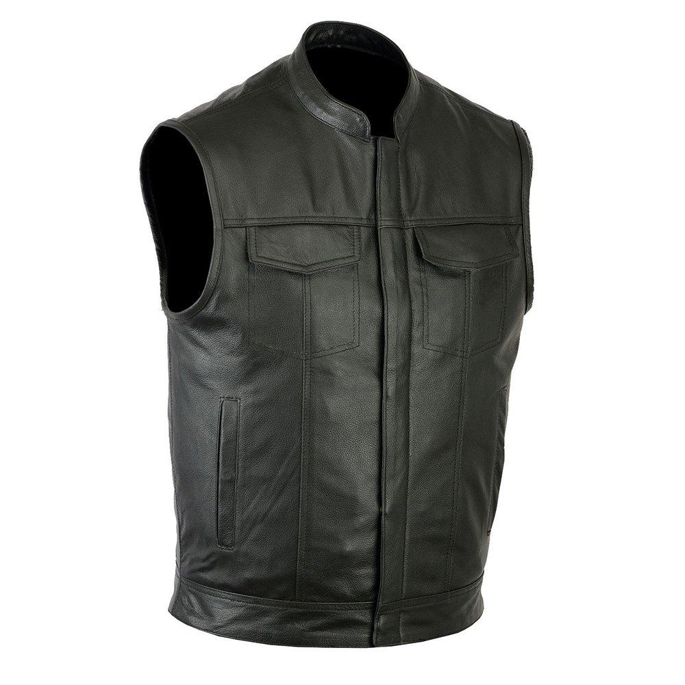 Ruja Sports SOA Style Genuine Leather Motorbike Vest with Inside Pockets (2XL)
