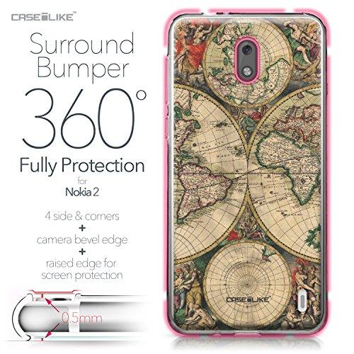 CASEiLIKE Funda Nokia 7 , Carcasa Nokia 7, Búho diseño gráfico 3315, TPU Gel silicone protectora cover Mapa del mundo de la vendimia 4607