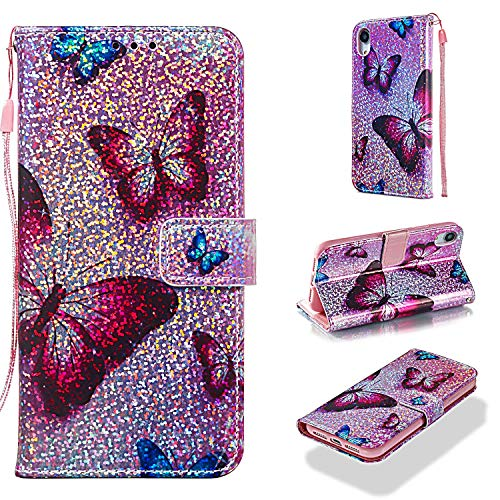 - iPhone XR Case, UZER Glitter Sparkle Bling Diamond Shining Style Premium PU Leather Shockproof Kickstand Folio Flip Wallet Case with Cash/Card Slots Durable Magnetic Book Case for iPhone XR 6.1