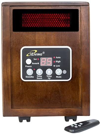 ILIVING Infrared Portable Space Heater With Dual Heating System, 1500W,  Remote Control, Dark
