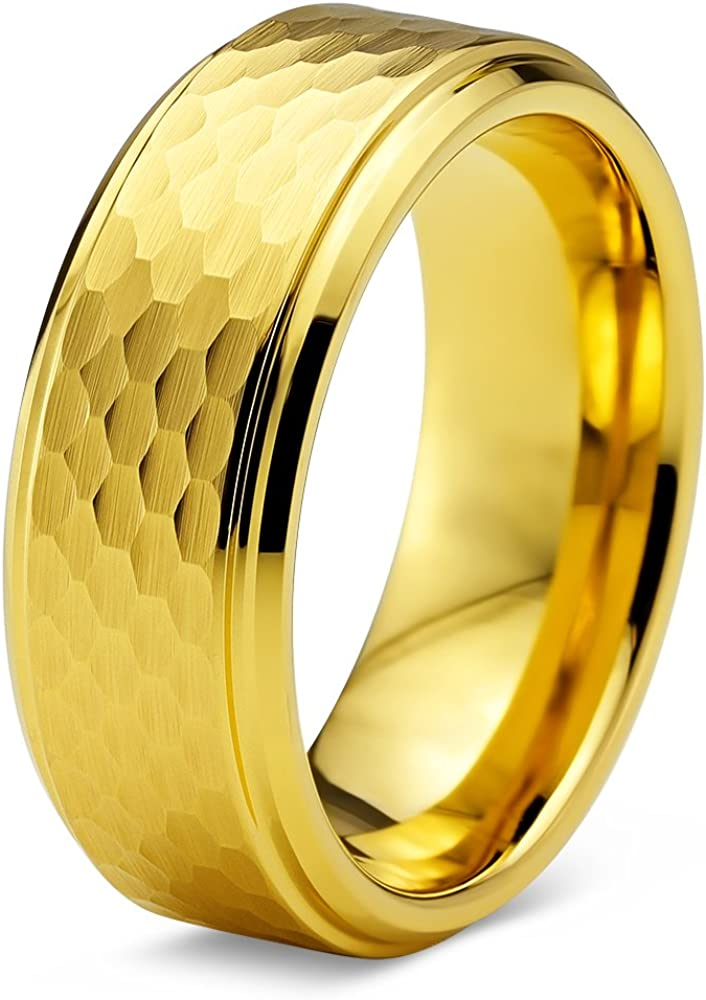 Charming Jewelers Tungsten Wedding Band Ring 8mm for Men Women Comfort Fit 18K Rose Gold Plated Hammerd Step Beveled Edge Brushed Polished