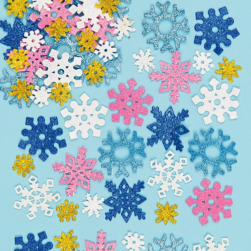 Baker Ross Glitter Foam Snowflake Stickers for Children to Decorate Winter Crafts Cards and Collage (Pack of 120)