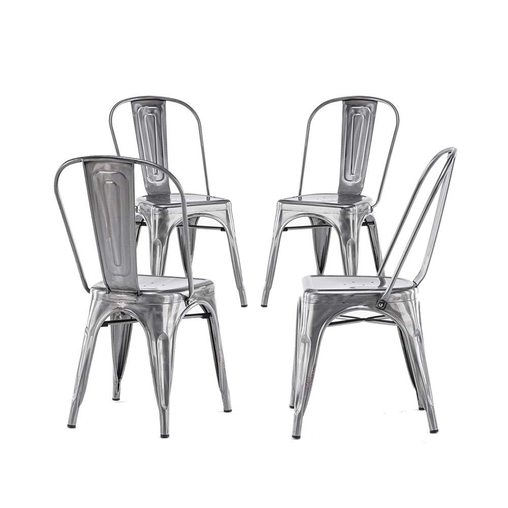 Mooseng Stainless Steel high Back Dining Chair Set of 4 Indoor-Outdoor Use Stackable Classic Industrial Vintage Chairs Bistro Kitchen Cafe Side Chairs with Back