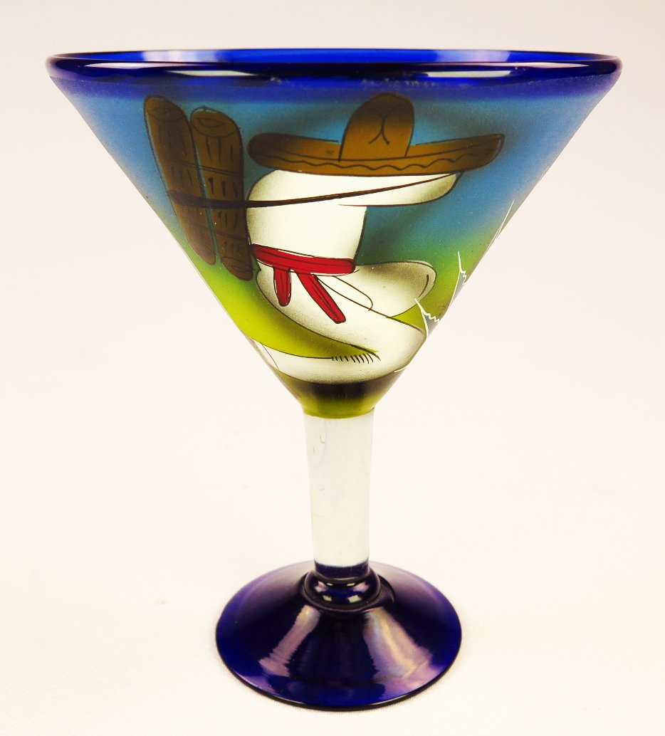 Mexican Glass Margarita Martini Hand Painted Poncho and Cactus, 14 Oz, Set of 4 by Mexican Margarita Glasses (Image #2)