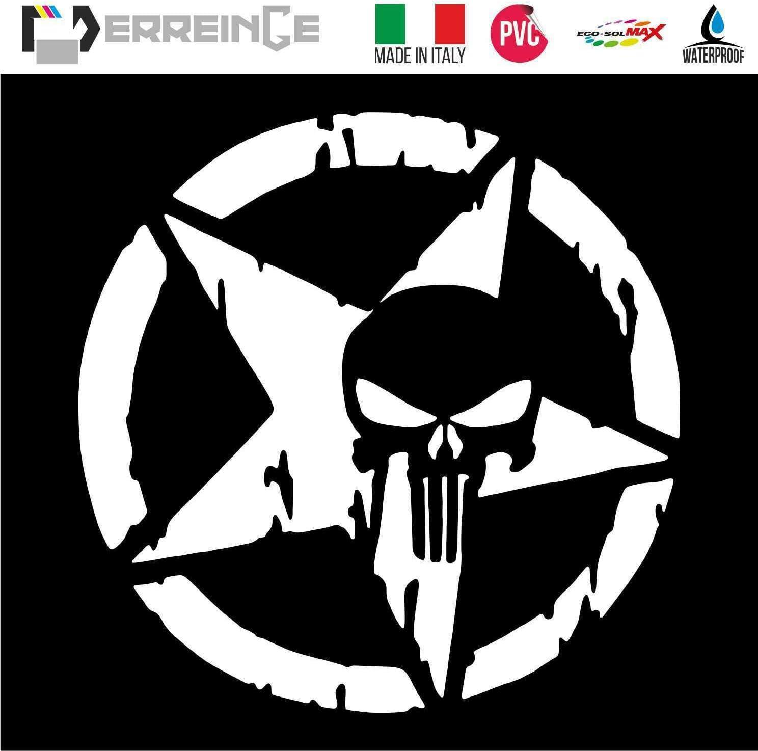 erreinge Sticker Punisher MILIT/ÄRSTAR Army Weiss PVC vorbeabstandete Aufkleber f/ür Wall Decal Aufkleber Wall Car Motorrad Helm Camper Laptop cm 35