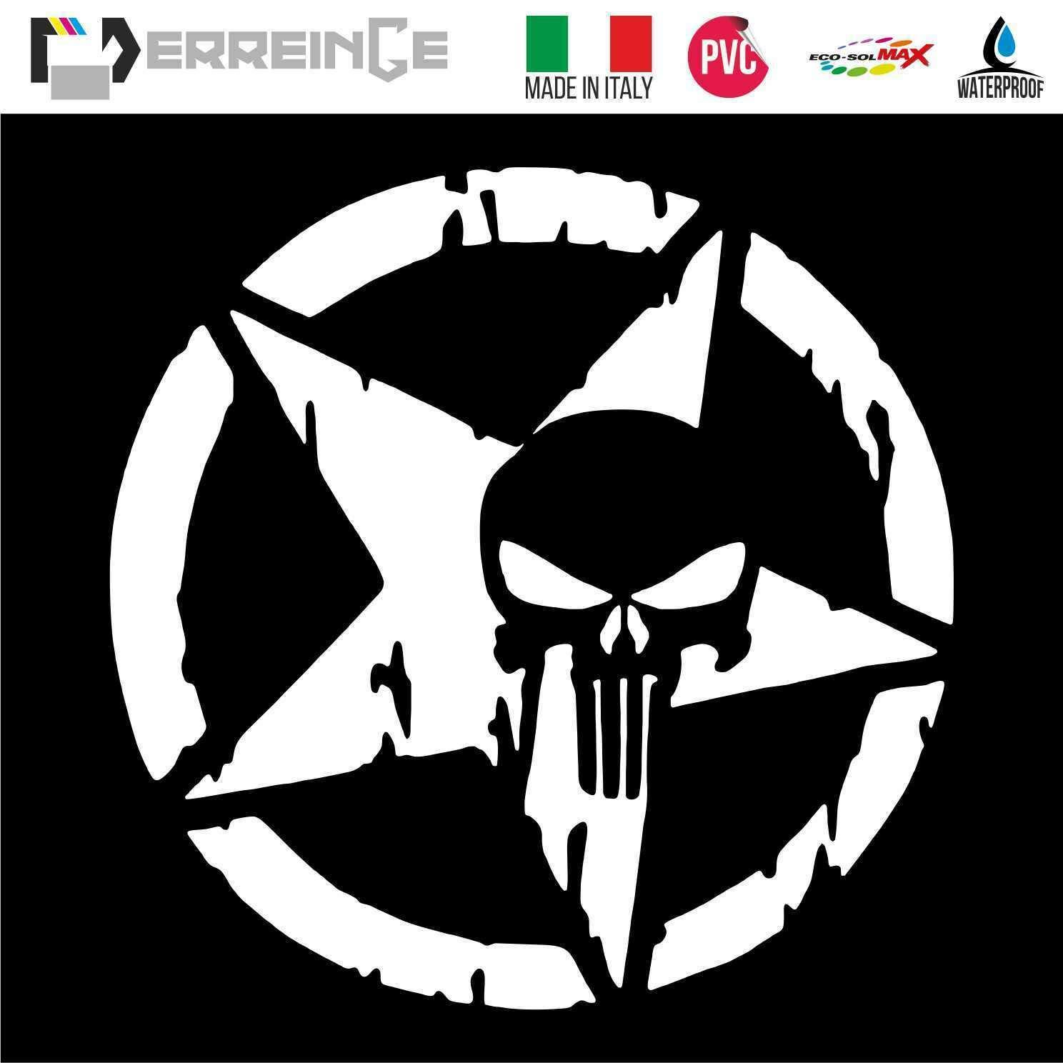 cm 15 ERREINGE Sticker PUNISHER /ÉTOILE MILITAIRE ARMY ARGENT Autocollant pr/éd/écoup/é in PVC pour D/écalcomanie Muraux Voiture Moto Casque Campeur Portable Scooter