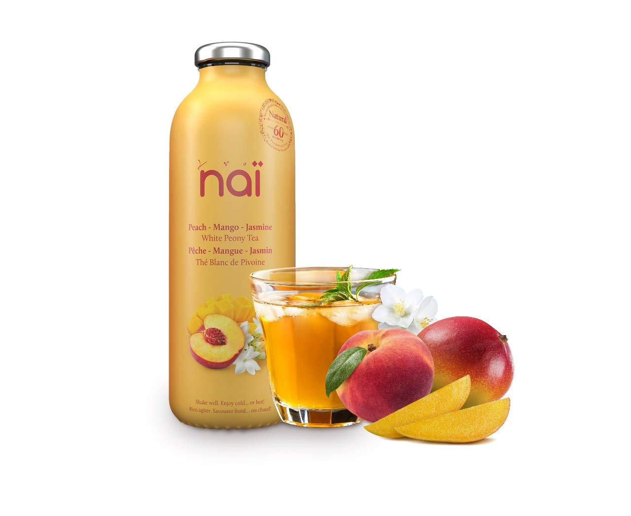 NAI Ice Tea | Pack of 12 | Peach - Mango - Jasmine - White Peony Tea | Enjoy Hot or Cold | Made of Natural Ingredients | No Artificial Colors & Sweeteners | No Preservatives | 16 OZ | Made in USA