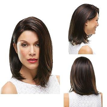 Amazon Com Shoulder Length Straight Wig With No Bangs Medium Side