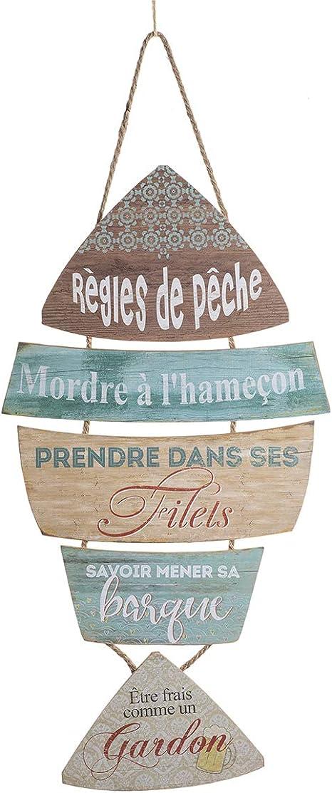 L 2 Pcs D/écorations de Poissons en Bois d/écorations murales en Bois pour la d/écoration de la Maison d/écoration Nautique Plage th/ème Mur Ornement