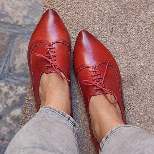 Women Red Handmade Shoes Leather Oxford Bangi CUqpwq