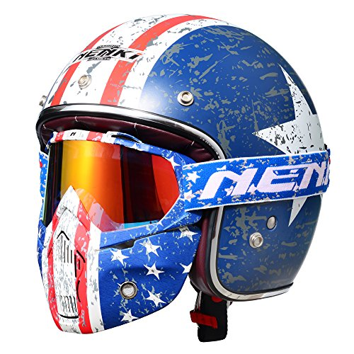 3/4 Fiberglass Bobber Motorcycle Open Face Helmet By NENKI For Moped Scooter NK-628 with NK-1019 Patriot Goggles Mask DOT Approved Stars and Stripes American Patriot (L)