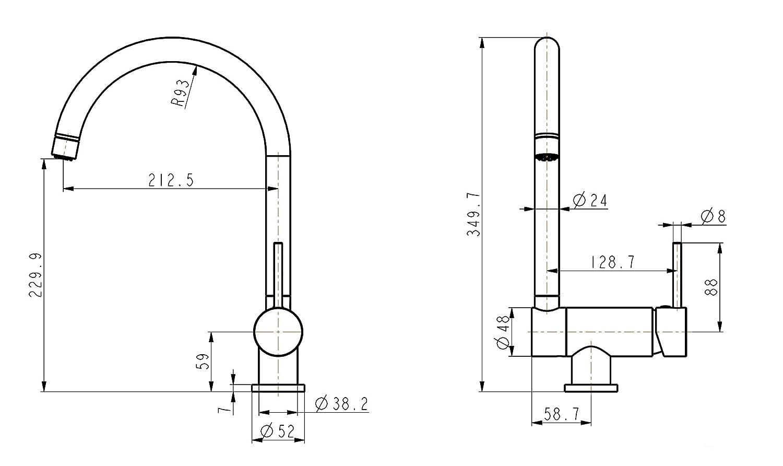 Cuisine robinets robinets /à levier unique robinet mitigeur pour fen/être dinstallation sous-fen/être Vorfestermontage cuisine Robinet de cuisine mitigeur fixe