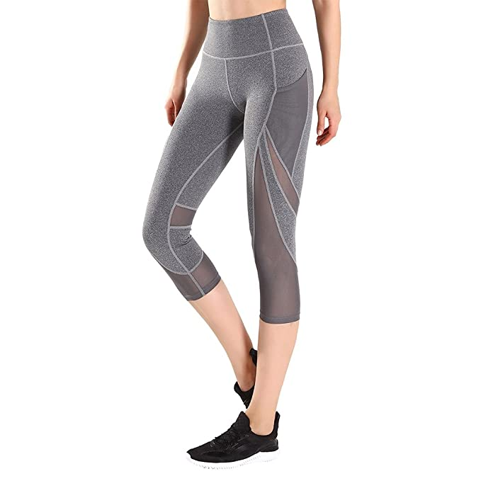 85071e568eb Tesuwel Women's Yoga Workout Capri Pants with Mesh and Side Pockets  Leggings Active Running Tights