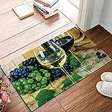 wine and grapes kitchen rugs - HomeCreator 18 x 30 Inch Grape Wine Glass Still Life Door Mats Kitchen Floor Bath Entrance Rug Mat Absorbent Indoor Bathroom Decor Doormats Rubber Non Slip