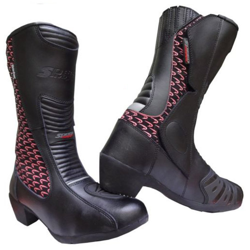 Speed MAXX‿Ltd Chaussures de Moto en Cuir pour Femme Motif Hawk Rose Taille 40