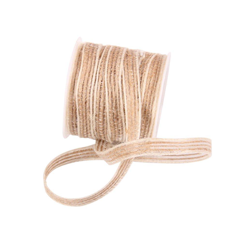 LUOEM Ruban Rouleau Hessian Jute Ficelle Corde pour Arts Crafts Applications De Jardinage Emballage Dé coration De Fê te De Mariage 5 M