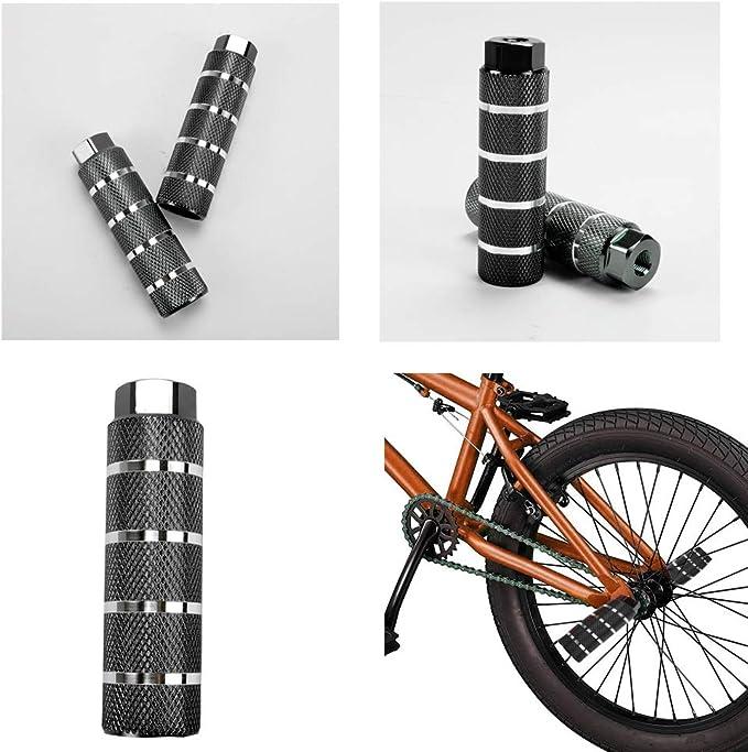 KOOBOOK 2Pcs Bike Pegs Bike Pedals Axle Foot Rest Pegs Bike Anti-Skid Lead Foot BMX Pegs Diameter 28mm Fit 3//8 inch Axles