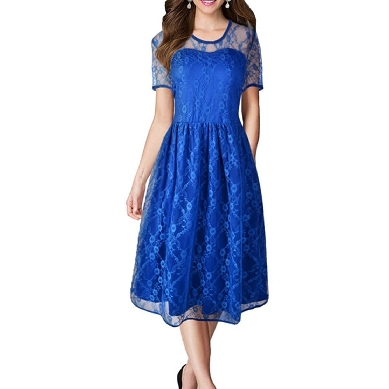 iPretty Sommerkleid Damen kurzarm mit Spitze Spleiß Rockenkleid Abendkleider Knielang