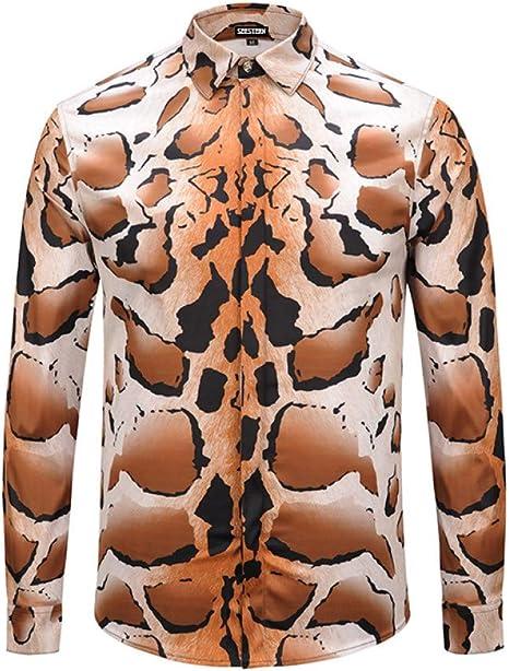 CHENS Camisa/Casual/Unisex/Ropa de Hombre XL Camisa Impresa Tigre Leopardo Moda Estilo Occidental Camisas de algodón Juvenil Casual Tops de Discoteca: Amazon.es: Deportes y aire libre