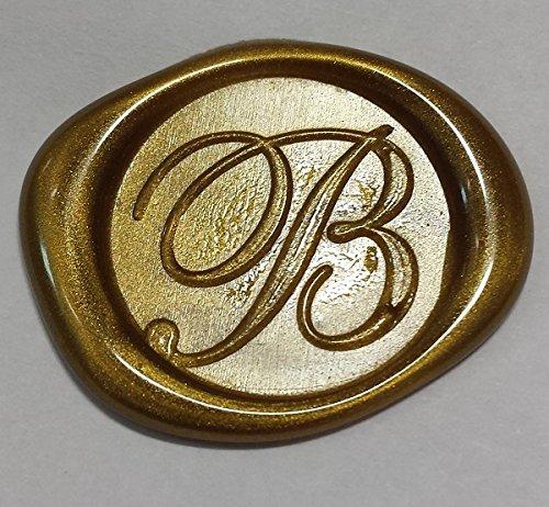 "100 pack of Wax Seals: Self adhesive wax seal sticker - B - Shelley Allegro Font - Metallic Gold - 1 """