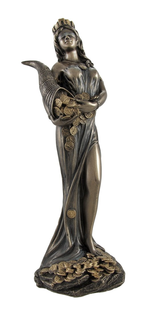 Veronese Design Bronzed Fortuna Roman Goddess of Fortune Statue Tykhe 7 in.