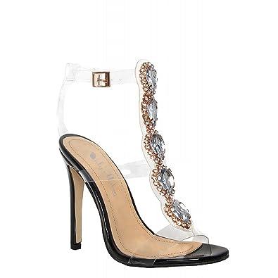 Onlymaker Damenschuhe Fashion High Heels Freie Toe Transparent Strap Riemchen Schnalle Sandale