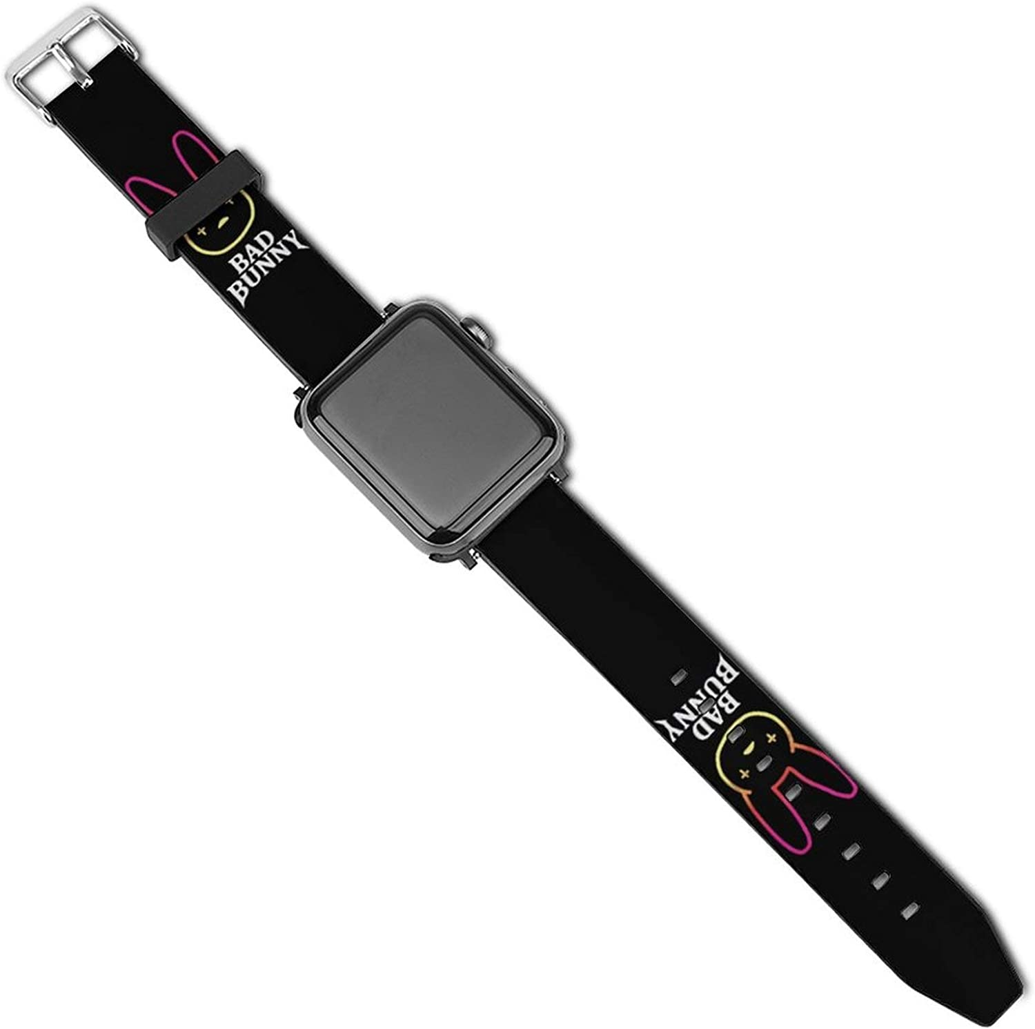 Bad Bun-ny Logo Patterned Leather Wristband Strap for Apple Watch Series 5/4/3/2/1