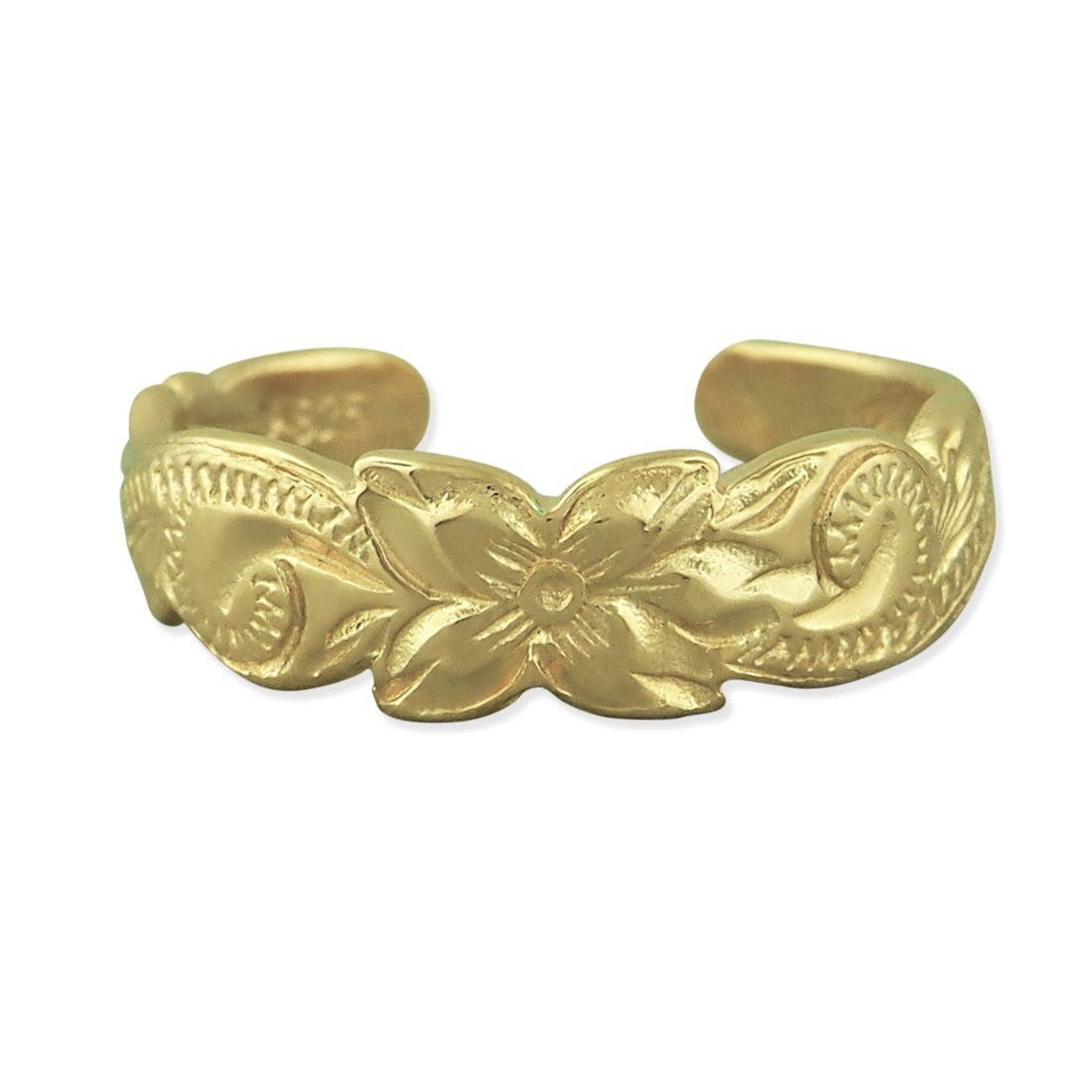 14kt Yellow Gold Plated Sterling Silver Hawaiian Band Toe Ring Hawaiian Silver Jewelry HSJTR001YO