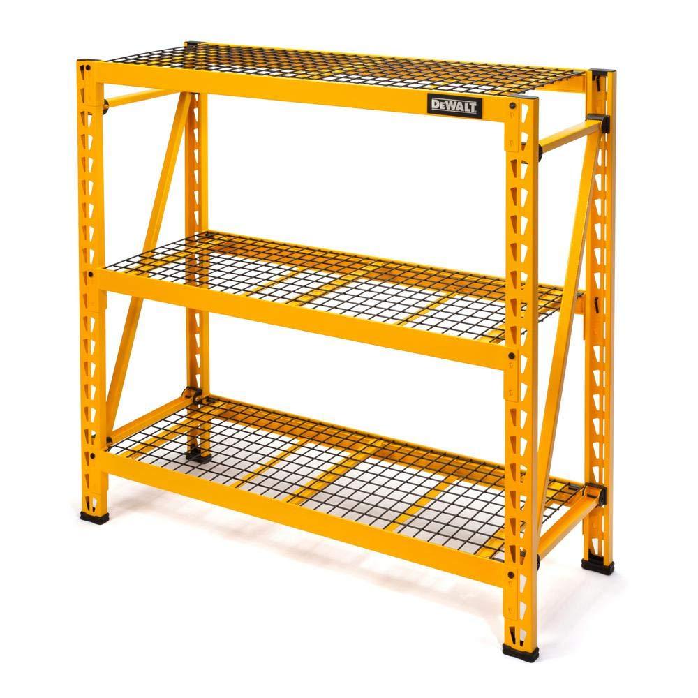 DEWALT DXST4500-W 48'' Hx50 Wx18 D 3-Shelf Steel Wire Deck Expandable Industrial Storage Rack Unit, Yellow by DEWALT