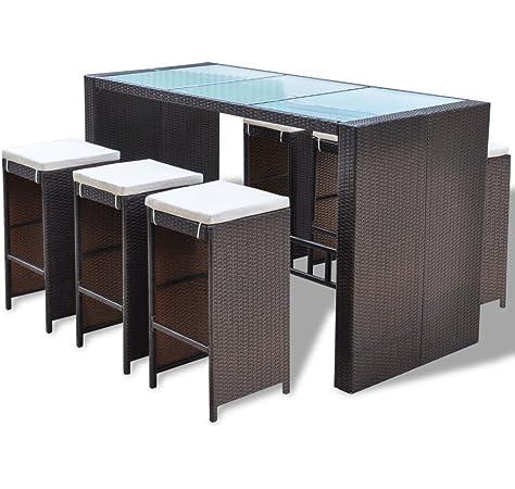 vidaXL Juego de Muebles de Bar de Jardín 13 Pzas Mesa Alta Barra con Taburetes de Exterior Patio Terraza Poli Ratán Sintético Negro Tipo Mimbre: Amazon.es: Hogar