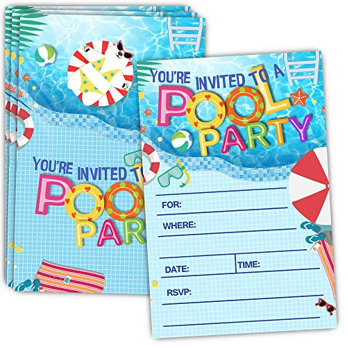 30 Pool Party Invitations with Envelopes - Double Sided - Birthday Invitations for Boys or Girls - Birthday Pool Party Supplies - Family BBQ Cookout Fill in Invites -