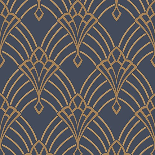 Astoria Deco Wallpaper Dark Blue and Gold Rasch 305340 (Deco Art Wallpaper)