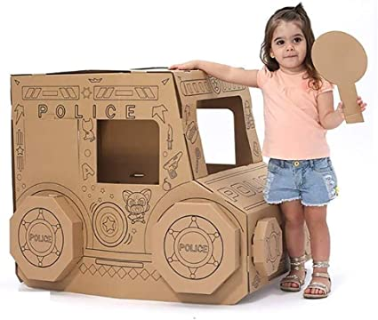 Corrugado Playhouse, 3D Hecho A Mano For Colorear Pintada Pintura Decorar Cartón Coche De Policía Juguetes Modelo Movible Fácil Casa De Juegos For Kinder Centro De Cuidado Infantil: Amazon.es: Hogar