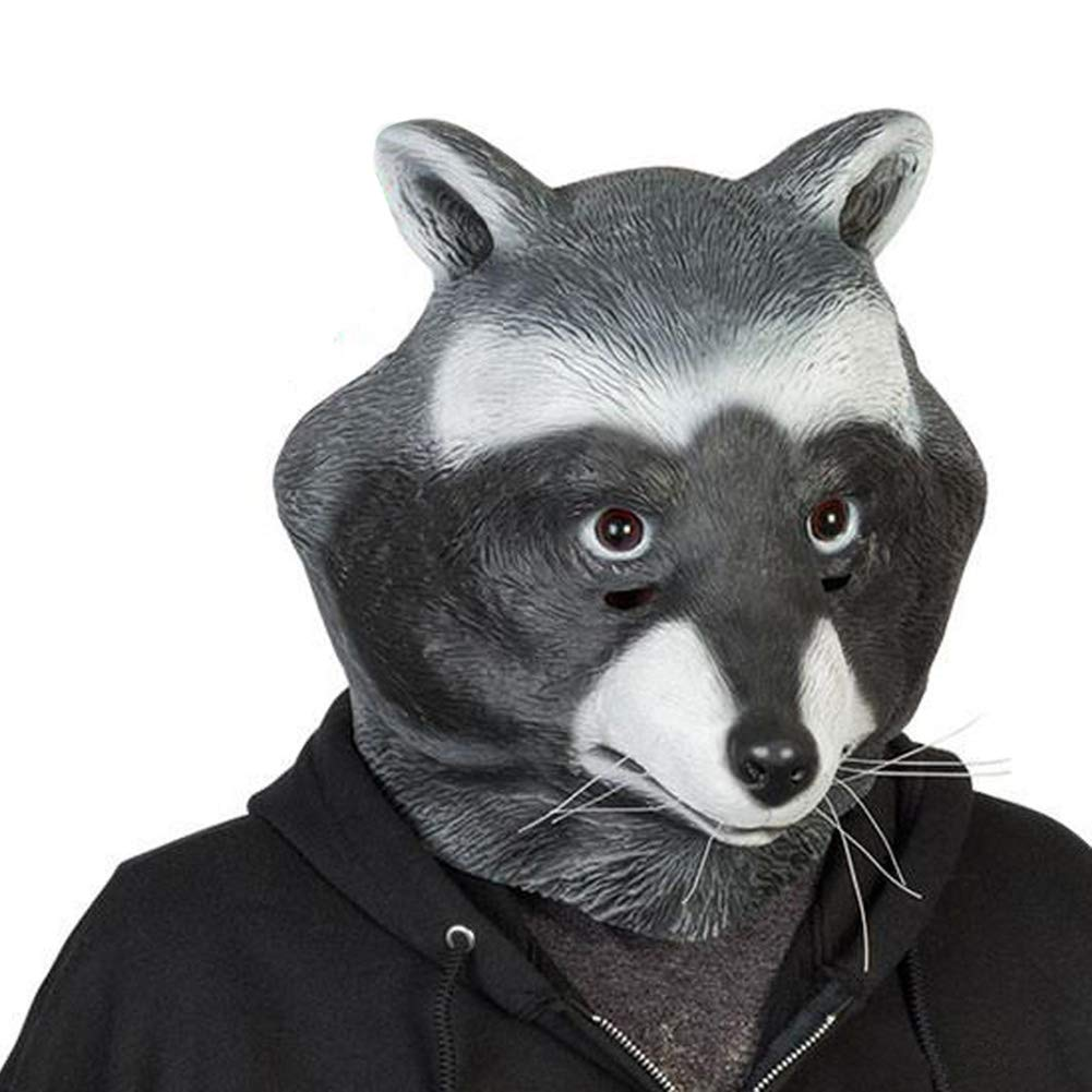 COSMOVIE Halloween Animal Head Mask For Adults Funny Raccoon Latex Mask 219movie093-AV
