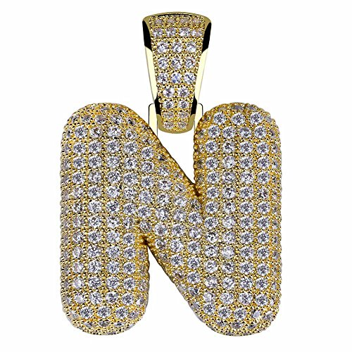 Custom Chains Pendants - HECHUANG Micropave Simulated Diamond Iced Out Bling Custom Bubble Letters Pendant with Rope Chain (N Gold, 24)