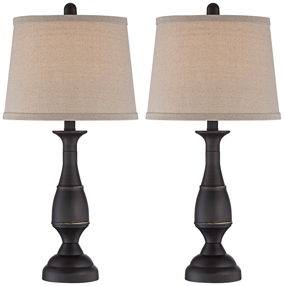 Ben dark bronze metal table lamp set of 2 amazon geotapseo Gallery
