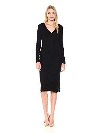 Lucca Couture Women s Ava V-Neck Ribbed Knit Sweater Midi Dress at ... b2b7bc782