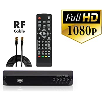 Digital Converter Box + Coaxial Cable for Watching & Recording Full HD Digital Channels for Free - Instant & Scheduled Recording, 1080P, HDMI Out, ...