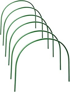 Yugust Greenhouse Hoops,4ft Flexible Long Steel with Plastic Coated Hoops,Grow Tunnel for Support Garden Row Covers Protecting Plants Outdoor,6pcs Set