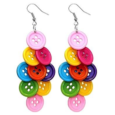 Joe Cool Multi-Coloured Bright Diamond Cluster Button Drop Earrings QnamJiRA