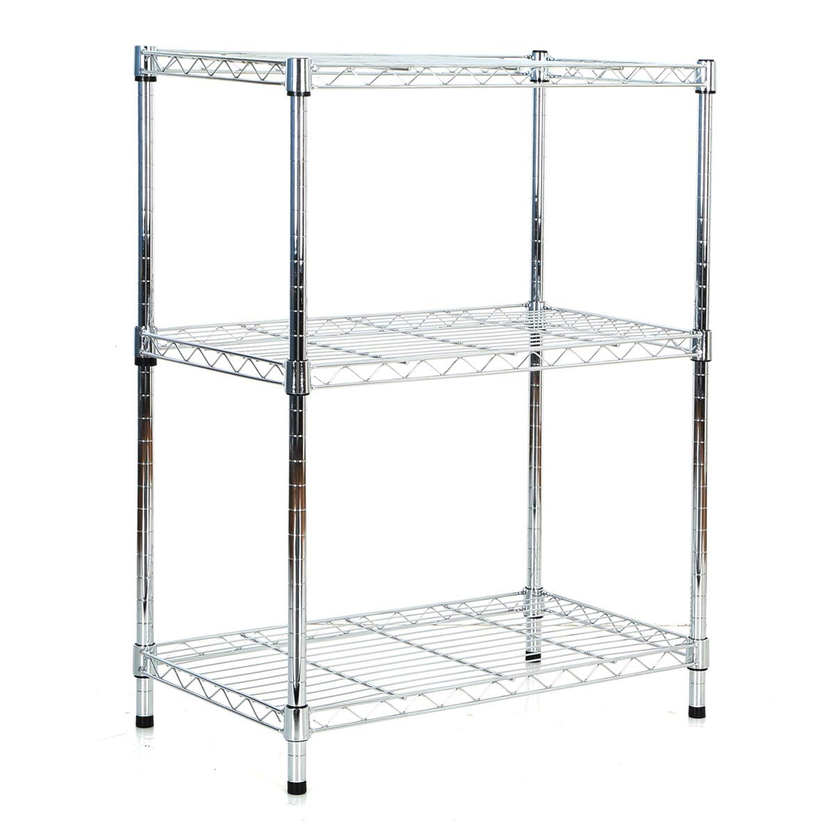 3 Tier Wire Shelving Metal Shelf Storage Rack Durable Organizer Unit for Kitchen Garage Pantry Organization - Chrome, 23'' W x 13'' D x 30'' H